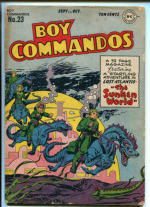 A Boys Commandos comic book cover from the 1940's showing strikingly visual simularities to Acamboro figures.
